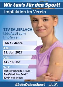 Plakat: TSV Sauerlach lädt ALLE zum Impfen ein